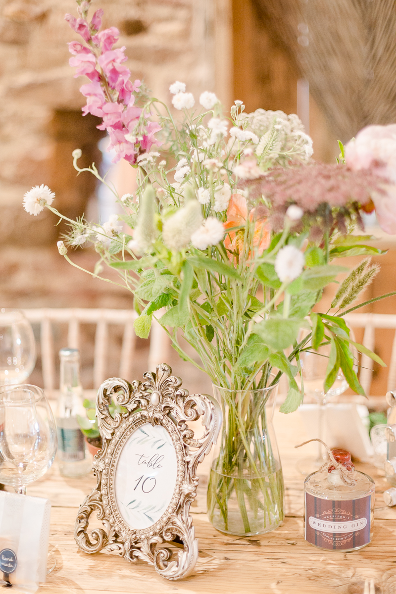 wildflowers as table decoration at wedding reception