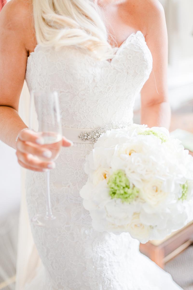 wedding dress champaign glass