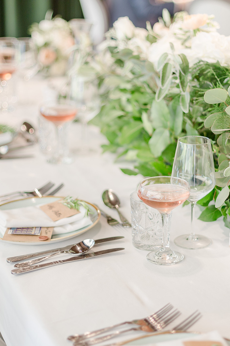 table setting with pink champaign
